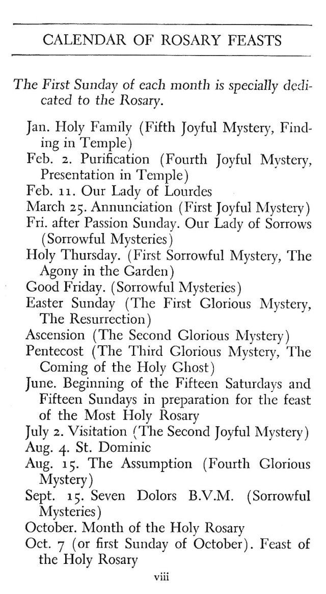 Calendar of Rosary Feasts