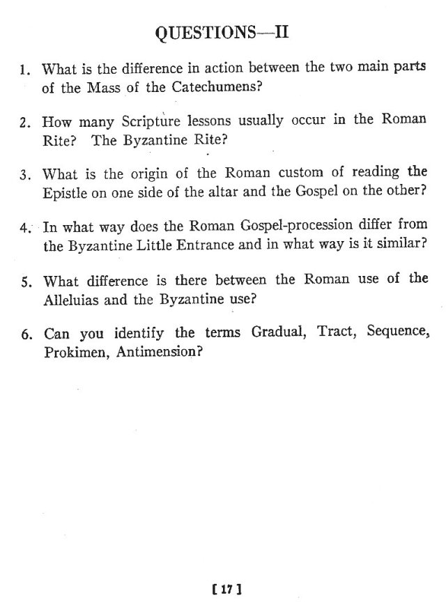 Comparison of Roman Byzantine Mass 16