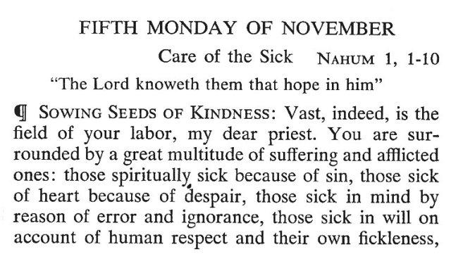 Fifth Monday November 1