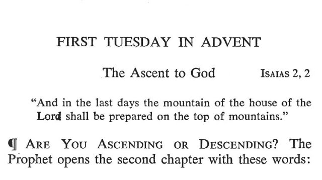 First Tuesday Advent 1