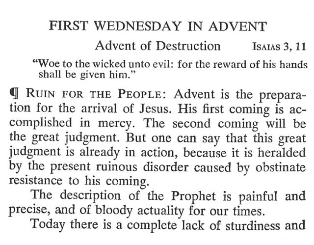 First Wednesday Advent 1
