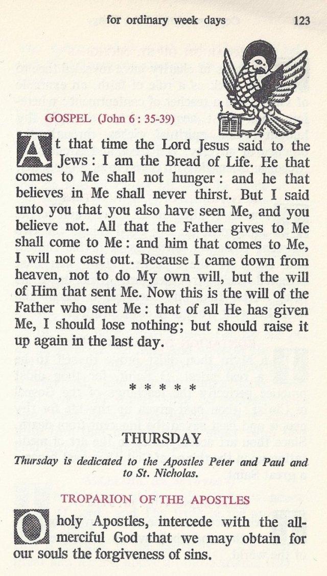 Divine Liturgy Common Week Days 9