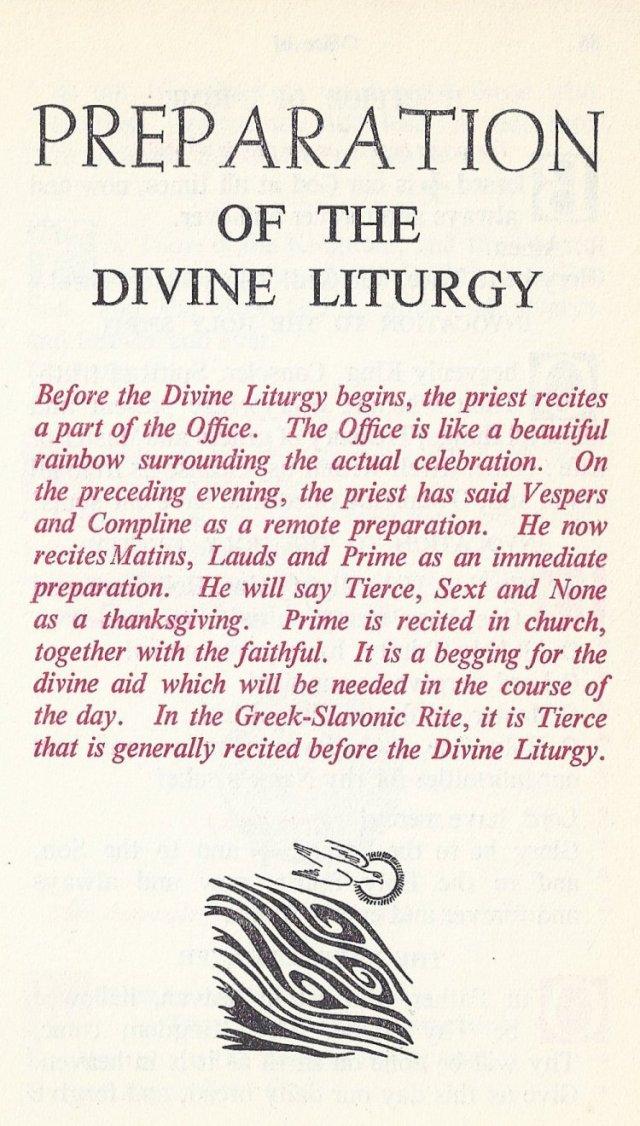 Preparation Divine Liturgy 1
