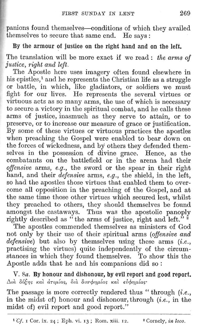 1st Sunday in Lent Epistle Commentary 10
