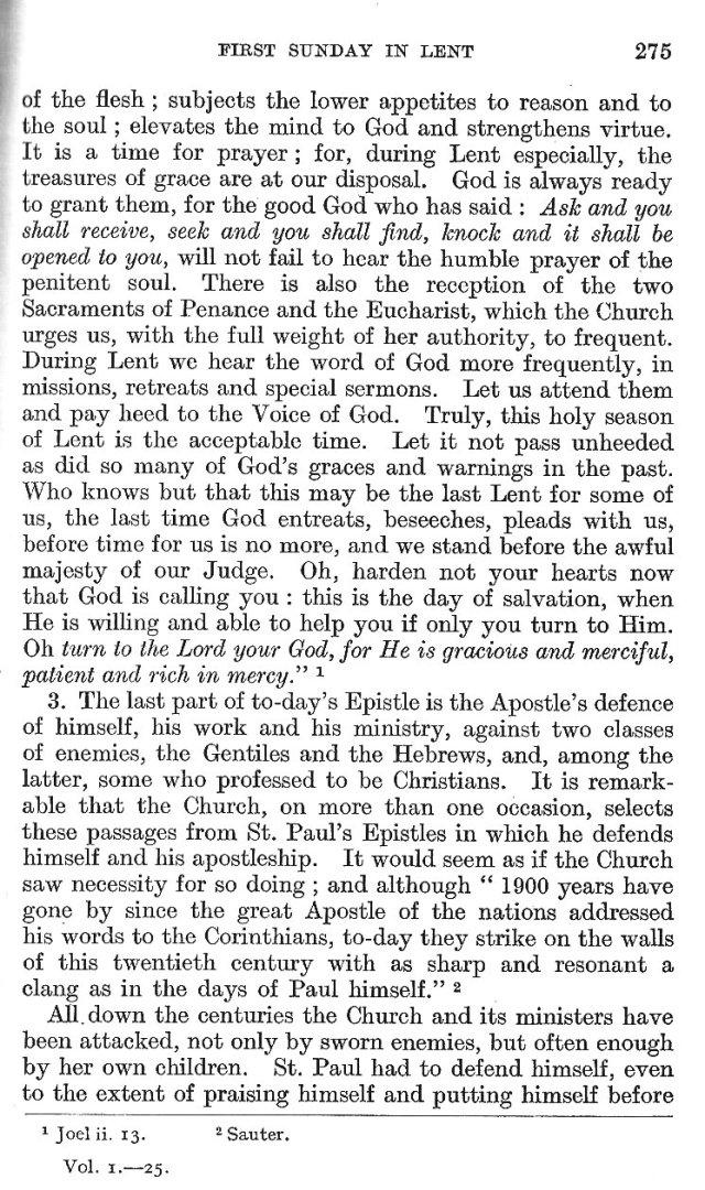 1st Sunday in Lent Epistle Commentary 16