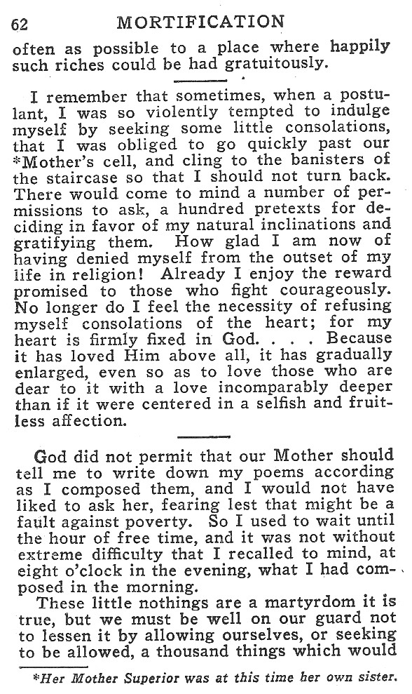 Spiritual Readings from the Little Flower's Writings - Mortification 3