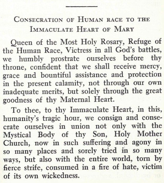 Consecration of Human Race to Immaculate Heart 1
