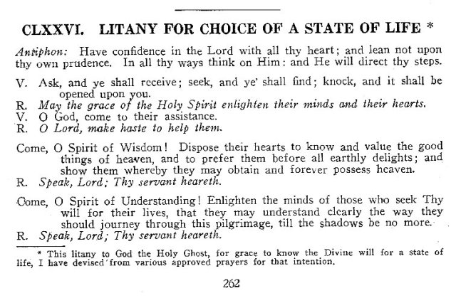 Litany for Choice of a State in Life 1