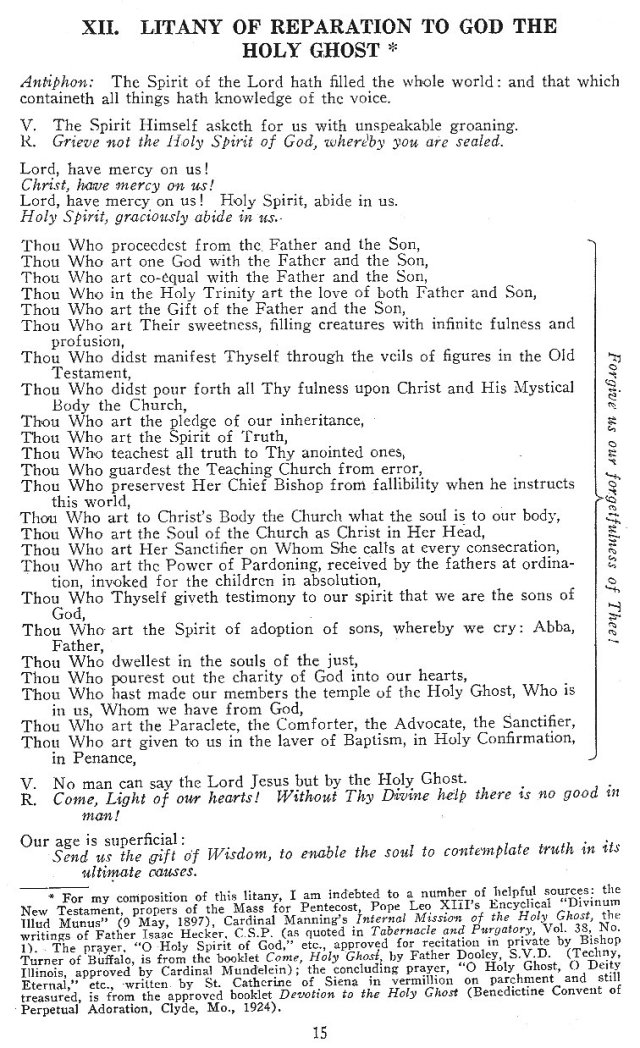 Litany of Reparation to God the Holy Ghost 1