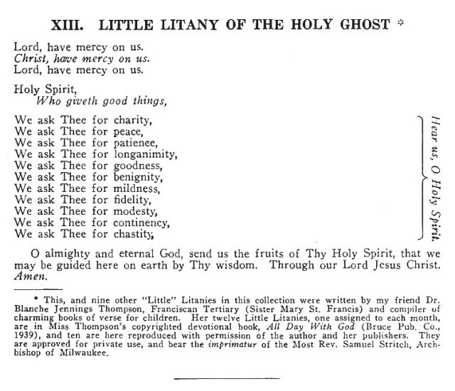 Little Litany of the Holy Ghost