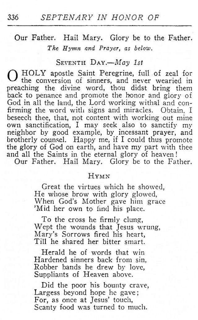 Septenary in honor of St. Peregrine 4