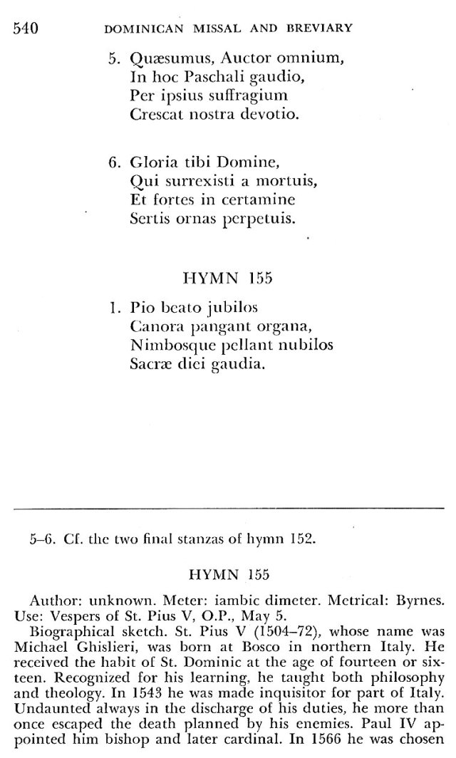 St. Pius V Hymns 1
