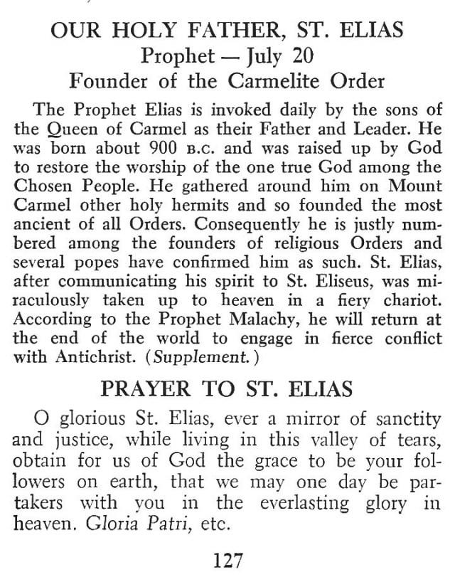 Carmelite Devotion St. Elias 1