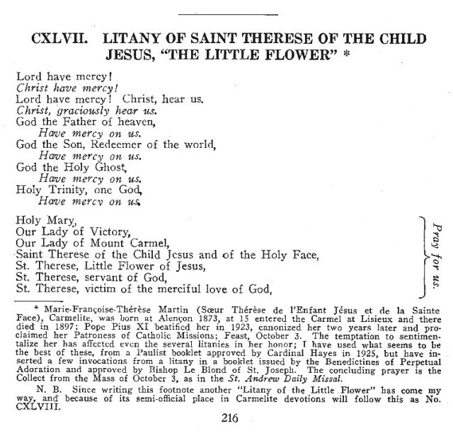 Litanies of St. Therese of the Child Jesus 1