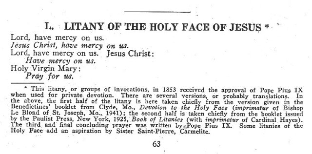 Litany of the Holy Face 1
