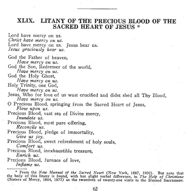 Litany of the Precious Blood of the Sacred Heart 1