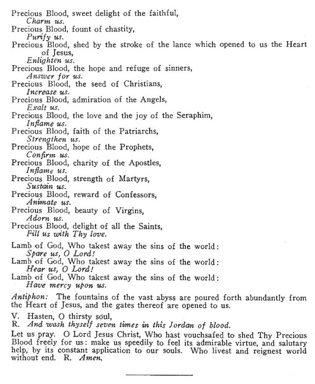 Litany of the Precious Blood of the Sacred Heart 2
