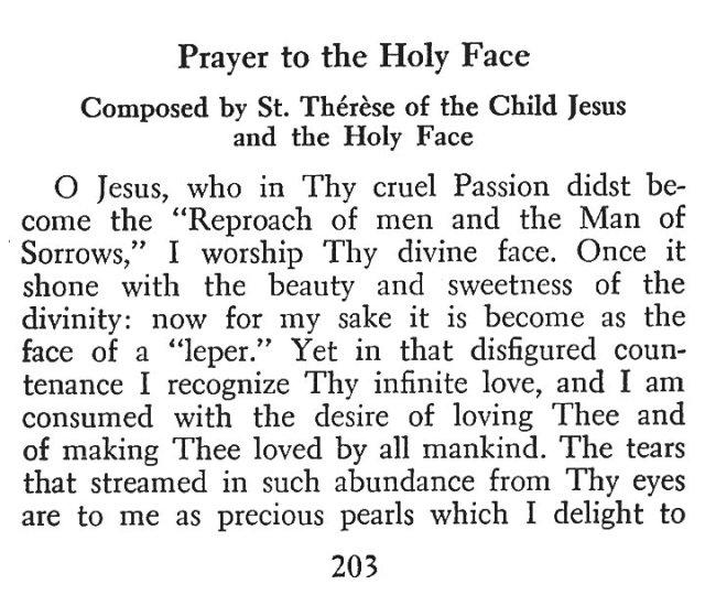 Little Flower Holy Face Prayer 1