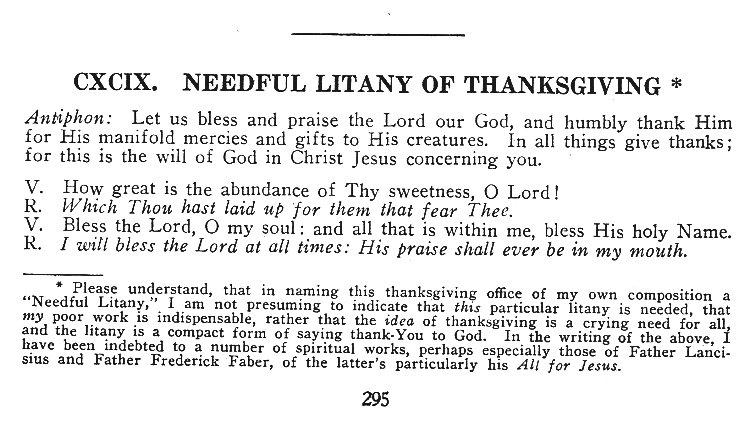 Needful Litany of Thanksgiving 1