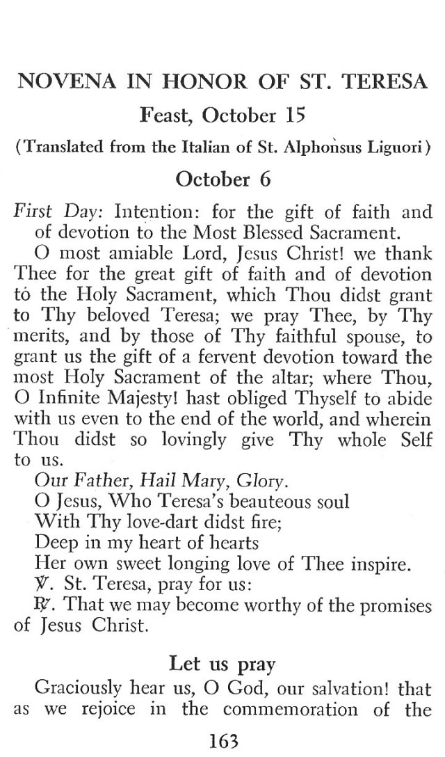 Novena in Honor of St. Teresa 1