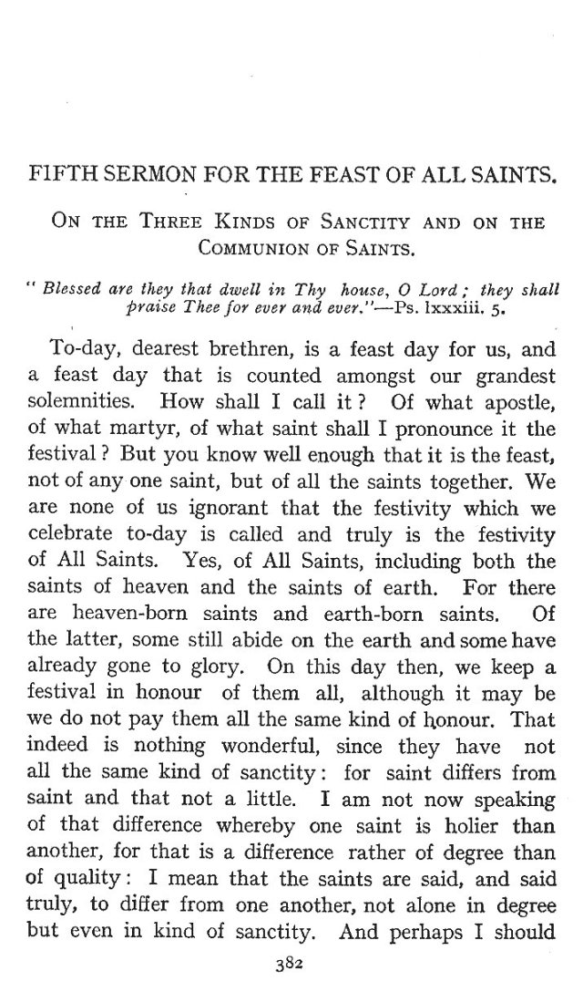 On the Three Kinds of Sanctity and on the Communion of Saints 1