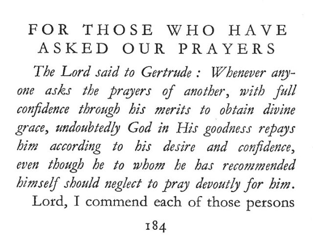 St. Gertrude's Prayer for Those Who Have Asked Our Prayers 1