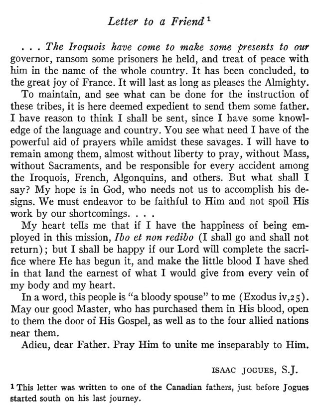 St. Isaac Jogues Letter
