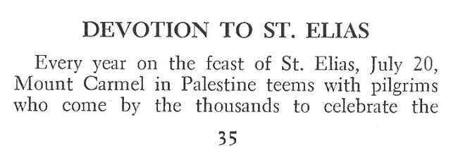 Devotion to St. Elias 1