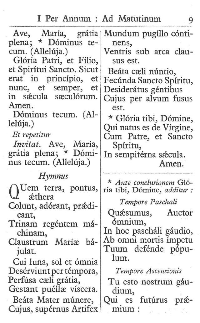Officium Parvum B. Mariae Virg. 9