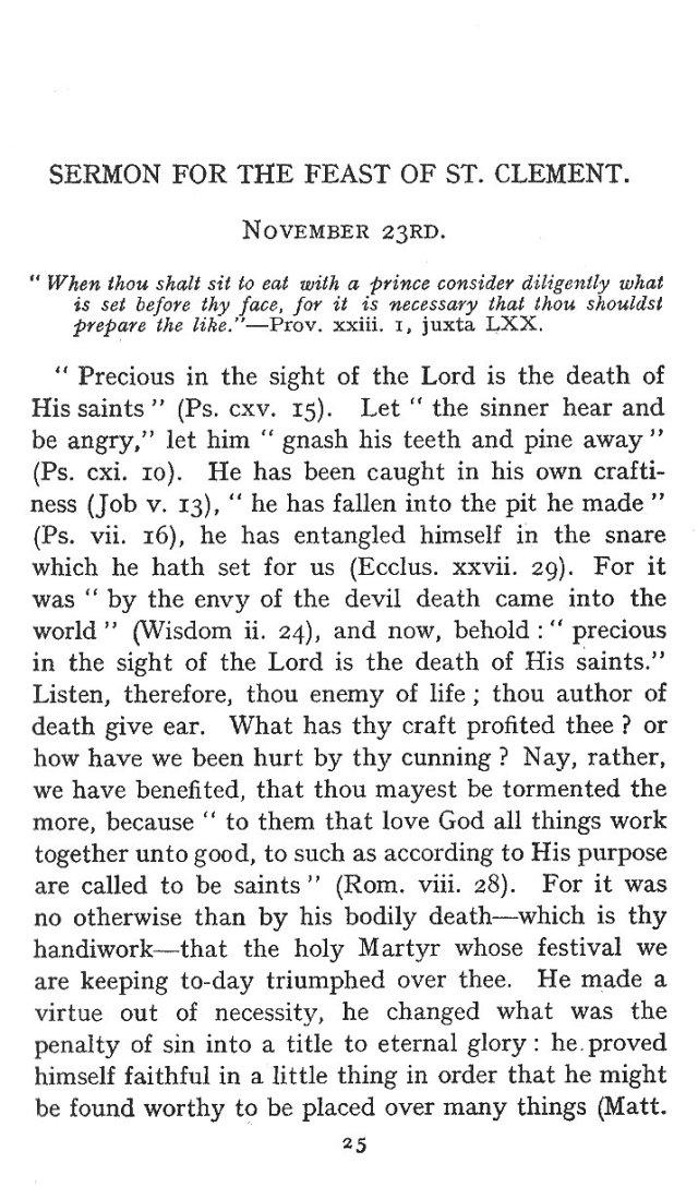 Sermon Feast St. Clement 1