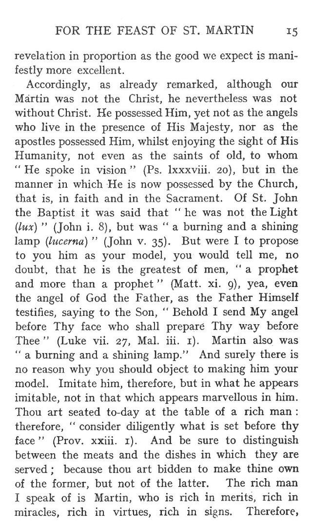 Sermon Feast St. Martin 15