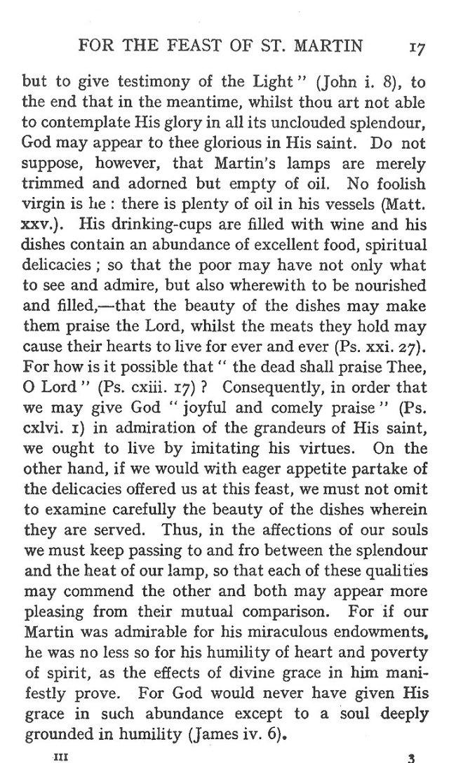 Sermon Feast St. Martin 17