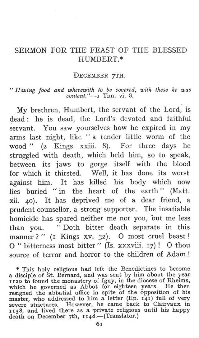 Sermon St. Humbert 1