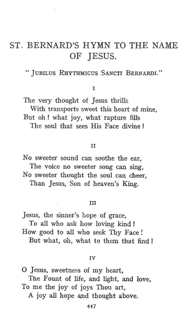 St. Bernard's Hymn Holy Name 1