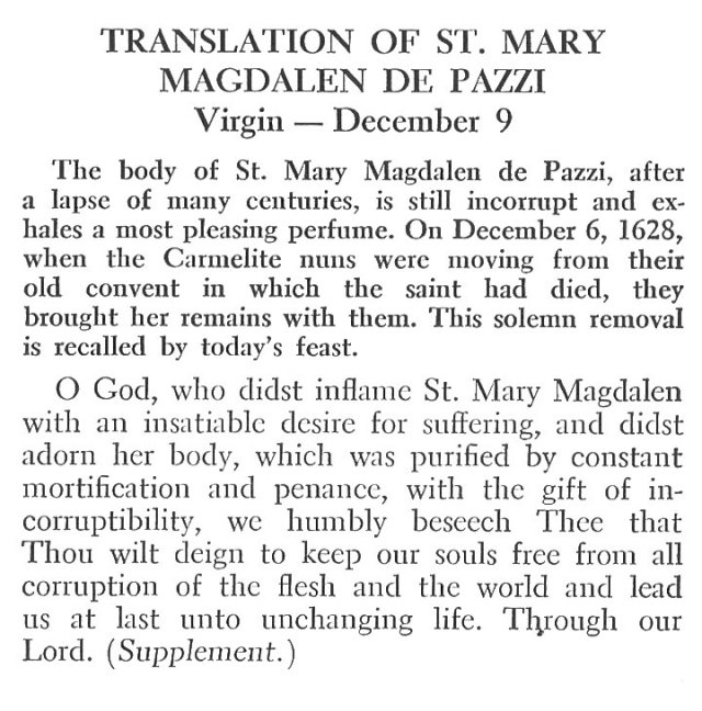 Translation of St. Mary Magdalene of Pazzi