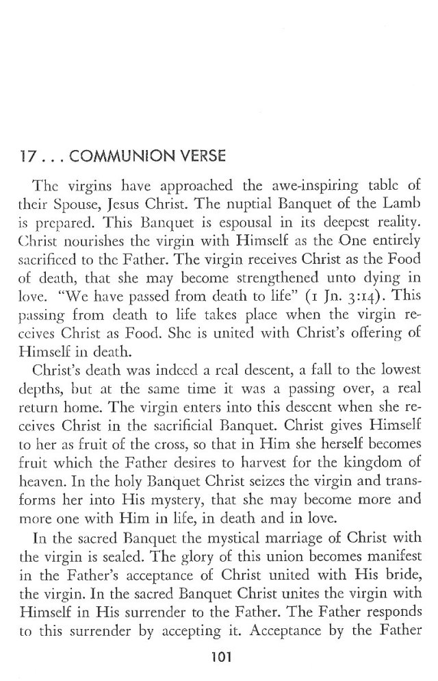 Christ in His Consecrated Virgins - Communion Verse 1