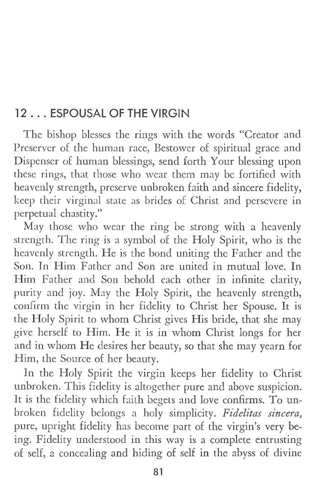 Christ in His Consecrated Virgins - Espousal of Virgin 1