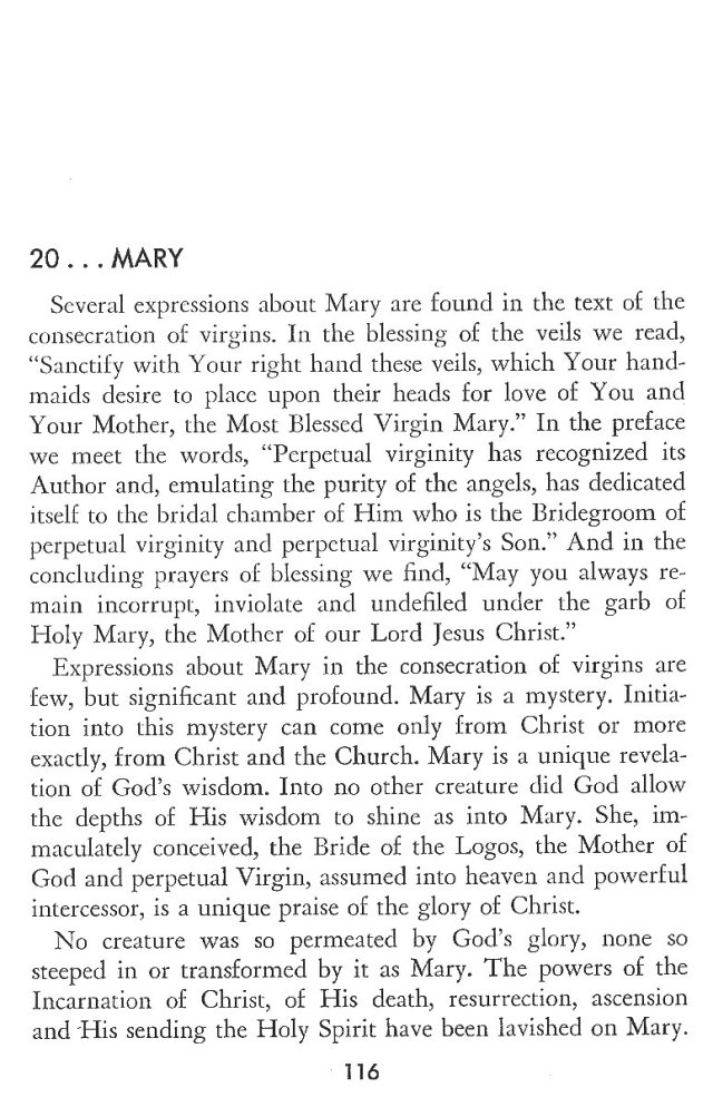 Christ in His Consecrated Virgins - Mary 1