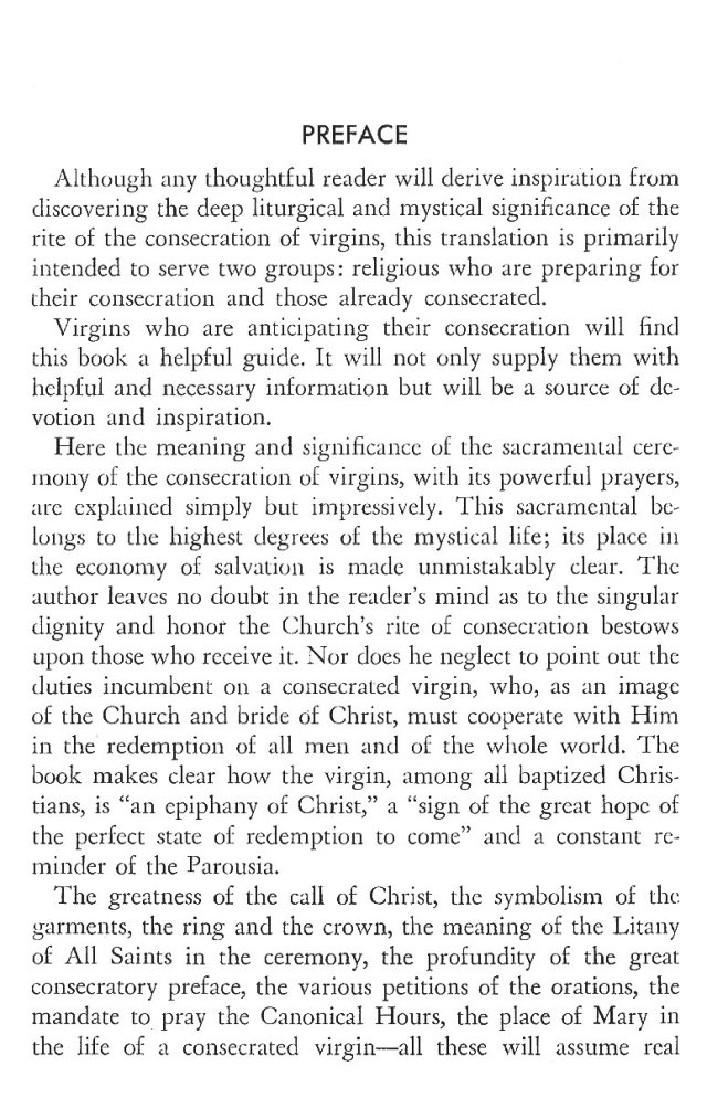 Christ in His Consecrated Virgins - Preface 1