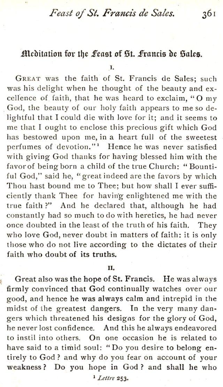 Meditation St. Francis de Sales 1