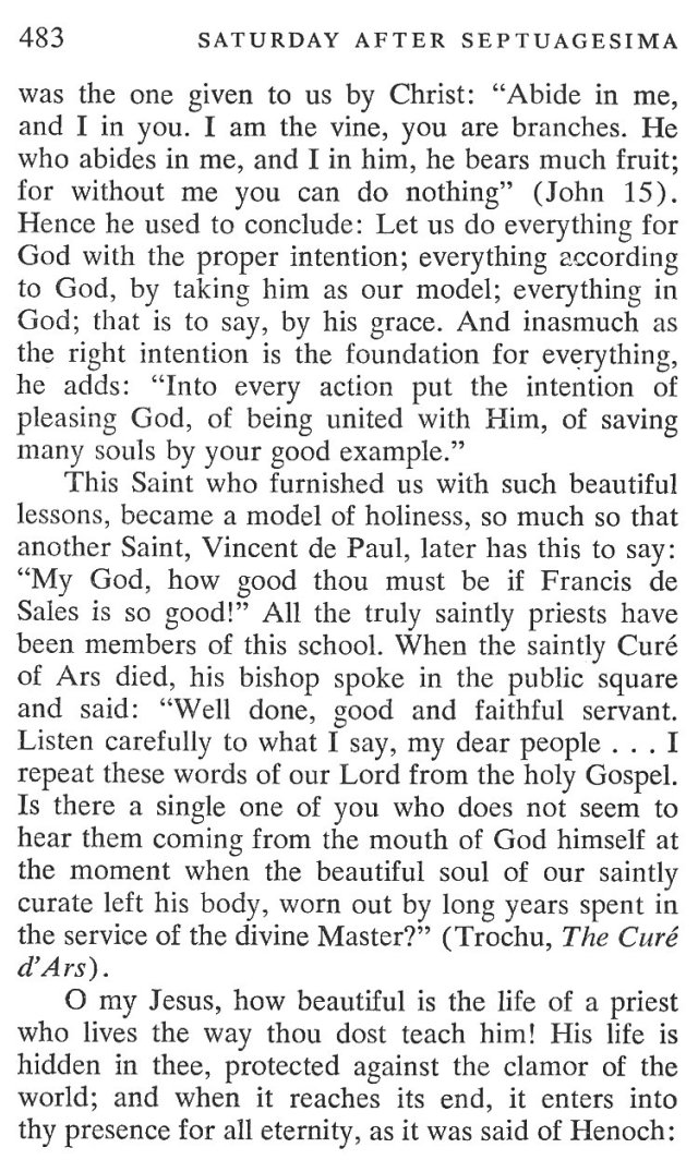 Septuagesima Saturday Breviary Meditations 5
