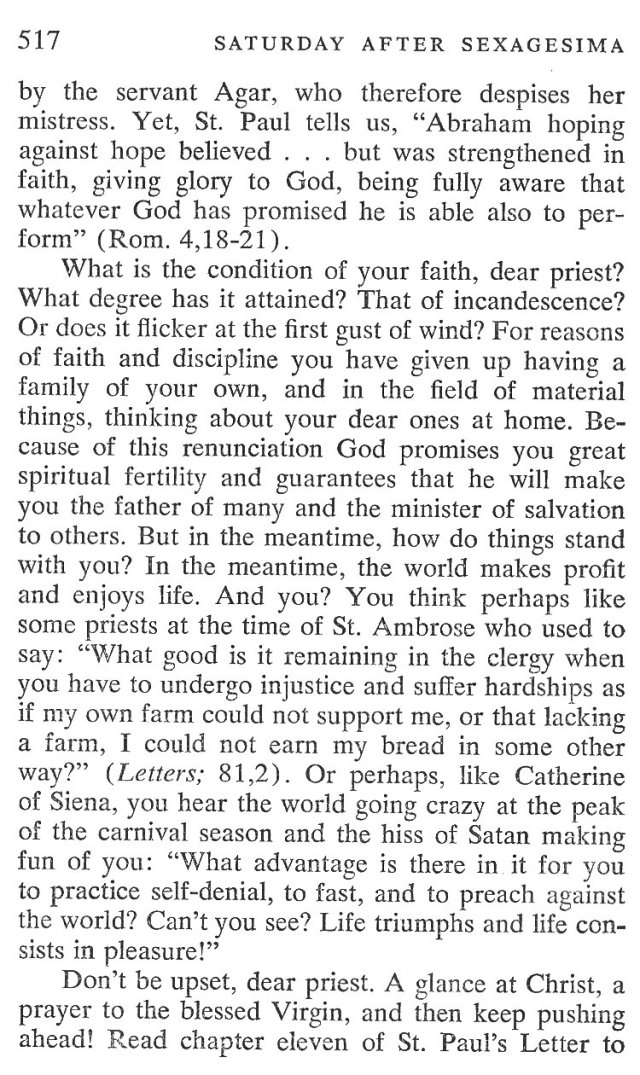 Sexagesima Saturday Breviary Meditations 2