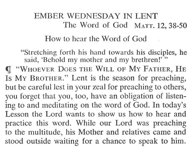 Ember Wednesday Lent Meditation 1