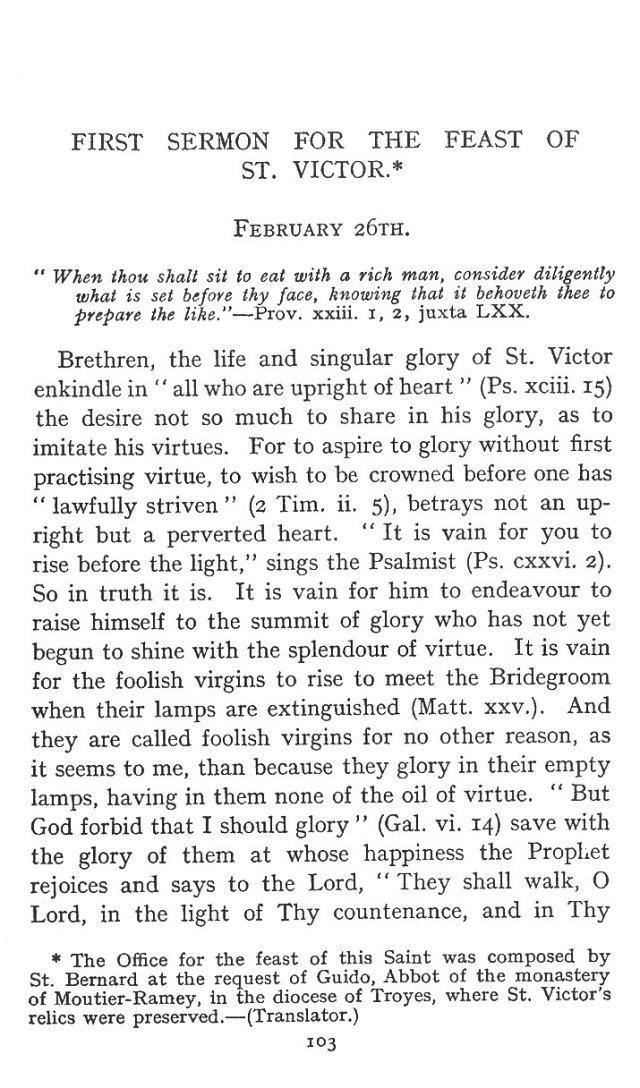 First Sermon St. Victor 1