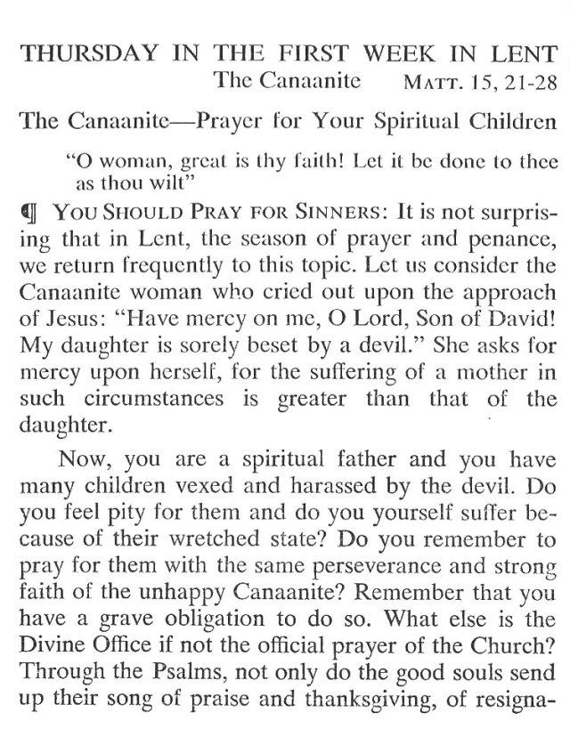 First Week Thursday Lent Meditation 1