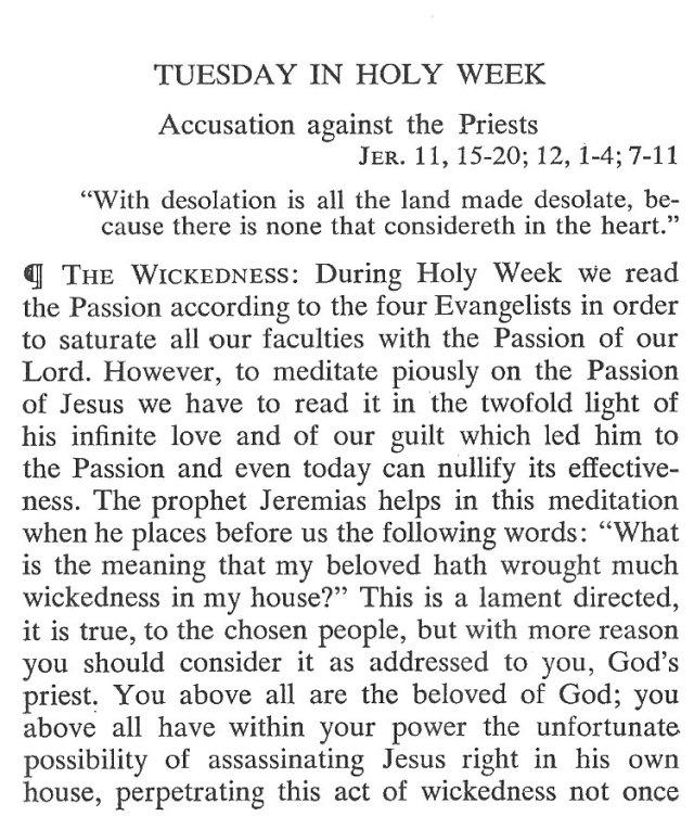 Tuesday Holy Week Breviary Meditation 1