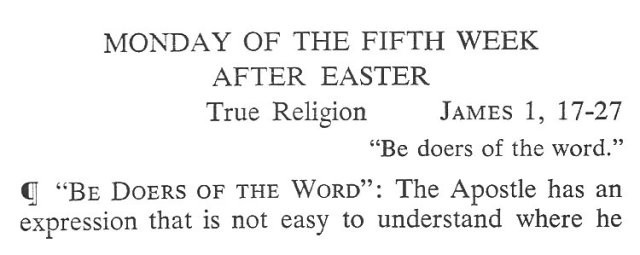 Monday Fifth Week after Easter Breviary Meditation 1