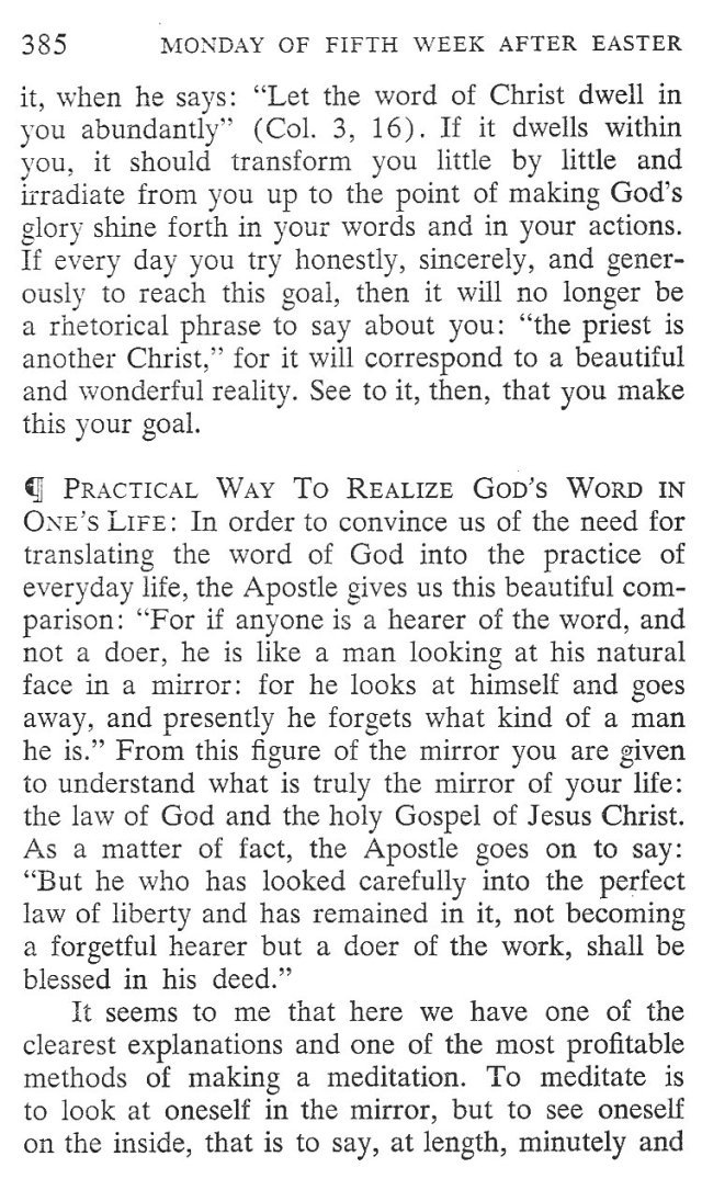 Monday Fifth Week after Easter Breviary Meditation 3