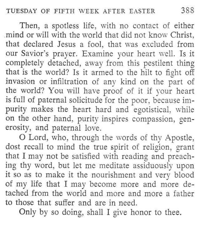 Monday Fifth Week after Easter Breviary Meditation 6