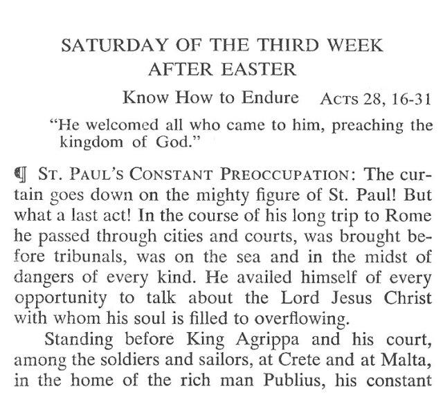 Saturday Third Week after Easter Breviary Meditation 1